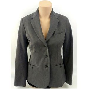 Gray Fitted Office Small Blazer Jacket Petite NEW